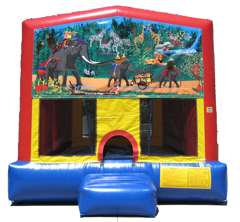 Jungle Jumpy House - 13ft x 13ft requires a 15ft x 15ft area. Can be set up on grass, driveway, patio or parking lot. No dirt, rocks or sand. Call 925-456-5867 for pricing and availability.